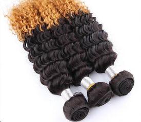 """Brazilian Deep Curly Ombre Virgin Human Hair 3pcs 18""""20""""22"""", 400g"""