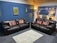 DFS brown leather suite. 3+2 seater sofas