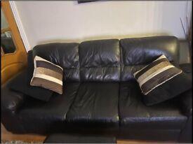 Black leather sofas (3 + 2)