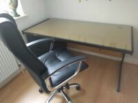 Office desk 30in x 61.5in with removable class top, swivel office chair, freestanding filing cabinet