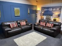 DFS dark brown leather suite. 3 and 2 seater sofas