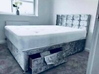 🎉Great furniture🎊DOUBLE/KING SIZE CRUSH VELVET DIVAN BED BASE W OPTIONAL MATTRESS & HEADBOARD