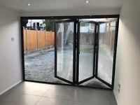 New Aluminium Bi Fold Doors inc Glass 3 panels RAL 7016 Anthracite Grey or 9016 White IN STOCK