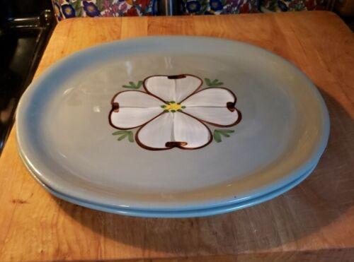 "2 Mid-Century PURINTON POTTERY Dinner Plates Maywood/Dogwood 9.5"" by 9"""
