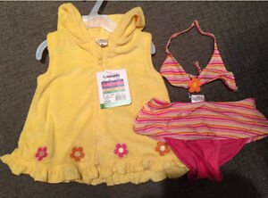 Bathing suit and Terry cover-up. New! 18-24mo