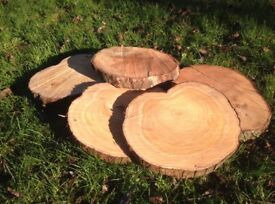 Wooden slices natural rustic log cake stand table decorations wedding