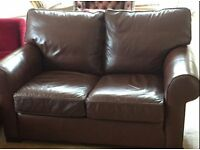 Chocolate brown soft leather sofa