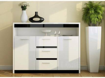 Monica high gloss white buffet unit display cabinet sideboard MR9 Hume Area Preview