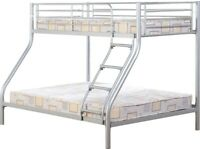 🎆💖🎆Glorious Design🎆💖🎆TRIO METAL BUNK BED FRAME DOUBLE BOTTOM & SINGLE TOP HIGH QUALITY