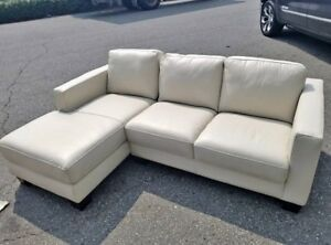 Brand New White Leather Sectional with Chaise End - sofa