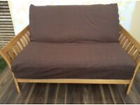 2 seater sofa bed/ futon frame 'Flare' by futon company with trifold mattress, very good condition
