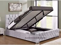 🔥🔥 Same Day Free Delivery 🔥 New Ottoman Storage Crushed Velvet Chesterfield Designer Bed+Mattress