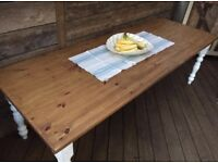 Fantastic 8ft solid pine farmhouse dining table, strong and great condition, can seat 10-12 people