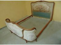 Vintage Louis French Style Wooden Double Bed with New Slates