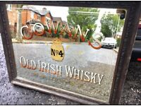 WANTED:WANTED:ANTIQUE ADVERTISING MIRRORS .ENAMEL SIGNS ADVERTISING ITEMS.,OLD IRISH PUB MIRRORS