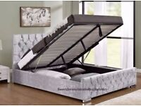 ★★ GAS LIFT STORAGE SYSTEM BED★★ CHESTERFIELD STORAGE BED FRAME CRUSHED VELVET FABRIC