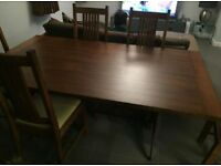 Stunning John Lewis solid wood rectangle dining table with six padded chairs