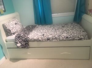 Solid Wood Trundle Bed and Twin mattresses