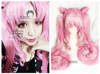 NEW Sailor Moon black lady Cosplay Wig long tail pink Costume Anime party hair