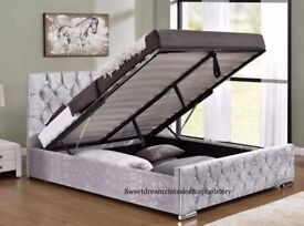 Chesterfield Storage Bed 4ft6 Double All Sizes Velvet Crushed Bed Frame KINGSIZE Silver Black Color