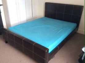 King size leather bed frame for or swap for leather double
