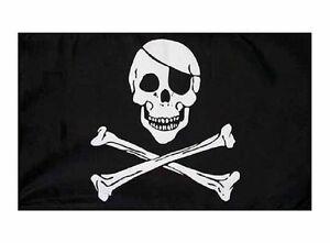 Pirate-Flag-Hand-Waver-Waving-Jolly-Roger-Skull-Crossbones-3-x-2-ft-Sleeved
