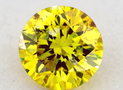 0.11 CT FANCY VIVID YELLOW COLOR ROUND GIA CERT LOOSE DIAMOND TAXFREE Gift