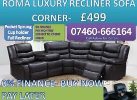 New 3 and 2 seater leather recliner sofa