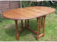 Large pine wooden folding dining table kitchen table.