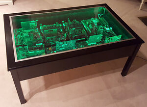 Unique Circuit Board Coffee Table with LED Lighting