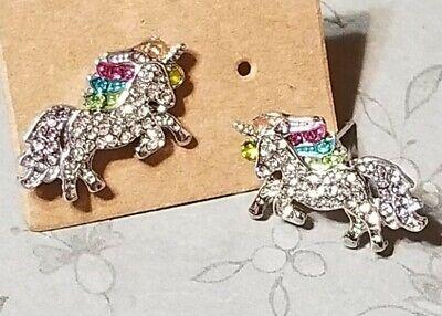 Multi-Color Unicorn Fashionable Earrings - Stud - Sparkling (Sparkling Crystal)