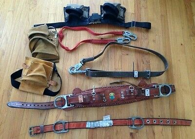 Bashlin Industries Tool Belt W Climbing Strap Pouches Plus Other Tools
