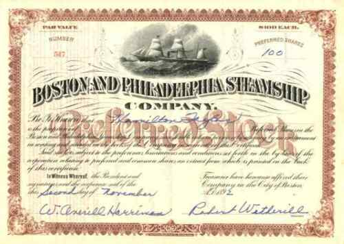 1892 Boston & Philadelphia Steamship Stock Certificate
