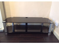 TV Stereo Stand Table Black Glass 50 Inch