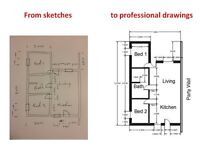 Building plans, mechanical and electronic engineering drawings prepared from your sketches