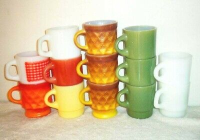 13 Fire King Stacking Coffee Mugs ~ Gingham, Kimberly, Green, Red, Yellow, McDs+