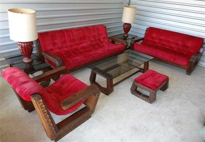 1960s-1970s Red Velvet Mexican Brutalist Mid Century Livingroom 10 Pieces