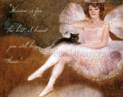 Guardian Angel Holding Black Cat Pet Heaven Inspirational Art Print
