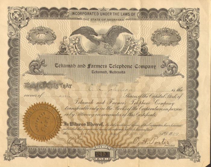 1909 Tekamah Telephone Nebraska stock certificate share