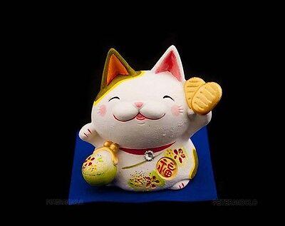 Hucha Gato Amuleto de la Suerte Japonés Maneki Neko Cerámica Fabricado En '314