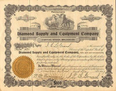 Diamond Supply and Equipment Co. > 1907 Pittston Pennsylvania stock certificate