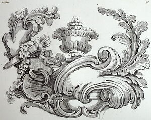 d coration rococo ornement de rocaille architecture gravure riester clerget ebay. Black Bedroom Furniture Sets. Home Design Ideas
