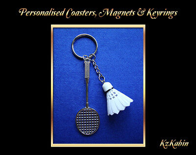 Badminton Racket Shuttlecock Sports Keyring Key Chain Novelty Gift Bag Tag