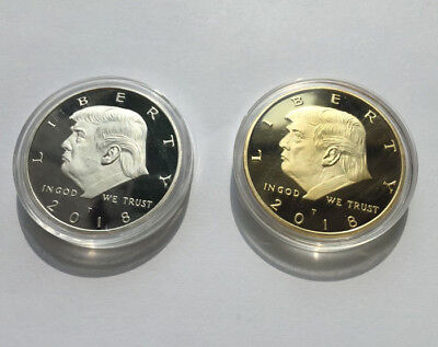 2X 2018 Us President Donald Trump Gold Silver Eagle Commemorative Novelty Coin