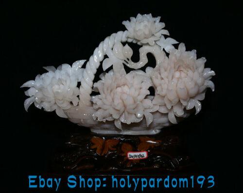"14.4"" China Natural Pink Xiu Jade Carving Peony Flower Basket Skep ""Bai Jian"""