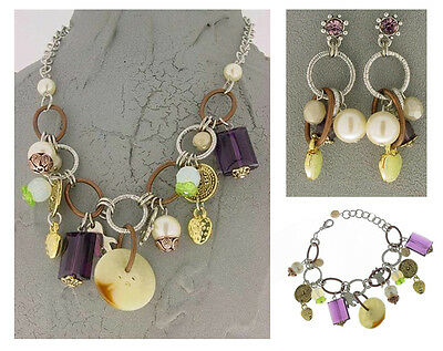 Authentic Italian Made Fashion Costume Jewelry Set: Necklace Earrings Bracelet Italian Set Earrings