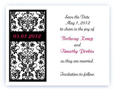 100 Custom Personalized Wedding Bridal Damask Save The Date Cards - Custom Save The Dates