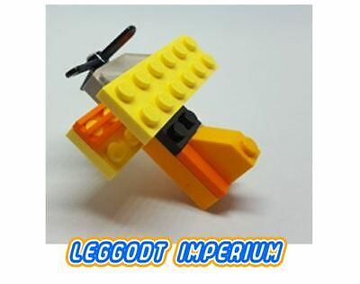 Vintage Bi-plane LEGO Brooch Badge - Yellow & Orange Propeller Plane
