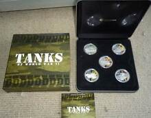 2010 Tanks of World War 2 $1 Silver Proof Coloured Coin Set. Wembley Cambridge Area Preview