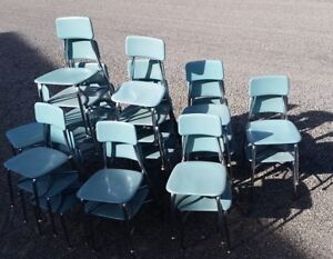 VARIETY OF VINTAGE KIDS CHILDRENS SCHOOL CHAIRS WOODITE CHROME